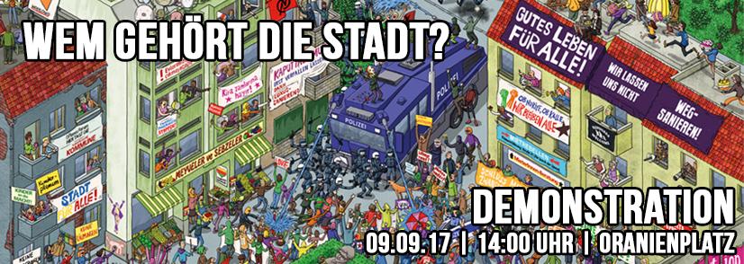 """Demo """"Wem gehört die Stadt? – Gegen hohe Mieten und Zwangsräumungen"""" am 9.9.2017"""